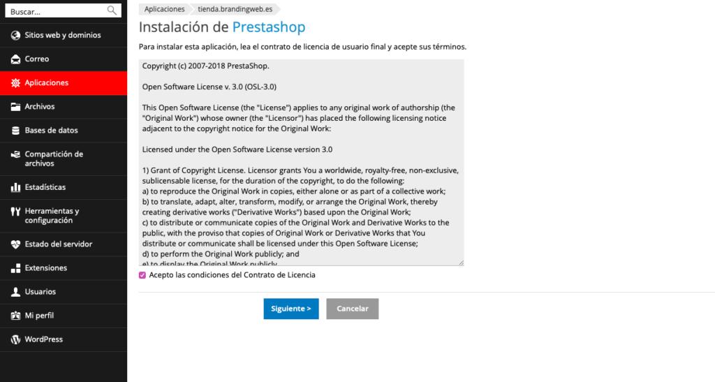 ¿Cómo instalar Prestashop desde Plesk? 4
