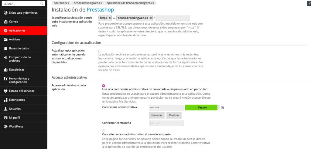 ¿Cómo instalar Prestashop desde Plesk? 5