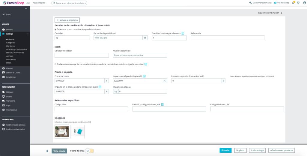 Crear productos con combinaciones en Prestashop 1.7 18