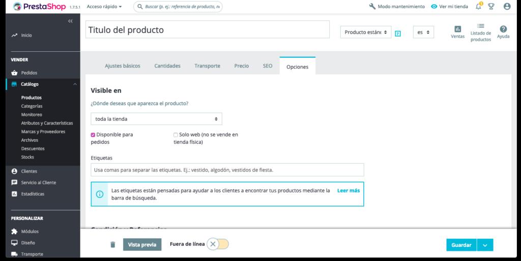 Crear productos en Prestashop 1.7 36