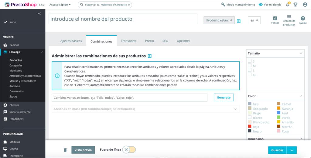 Crear productos con combinaciones en Prestashop 1.7 12