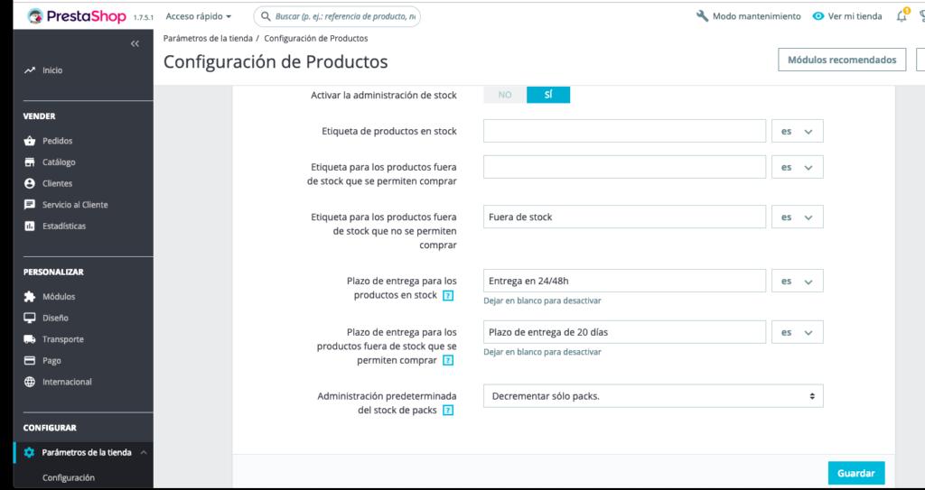 Crear productos en Prestashop 1.7 25