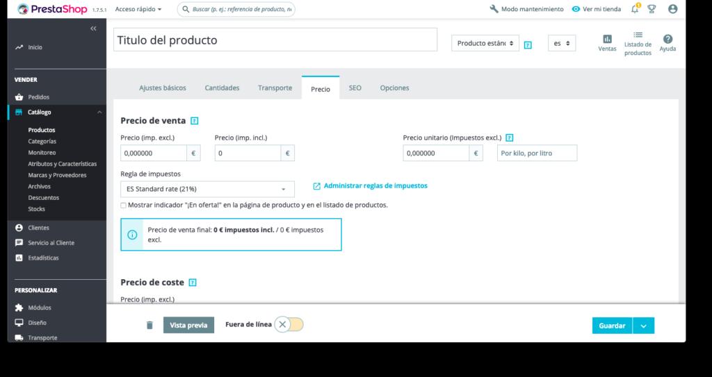 Crear productos en Prestashop 1.7 29
