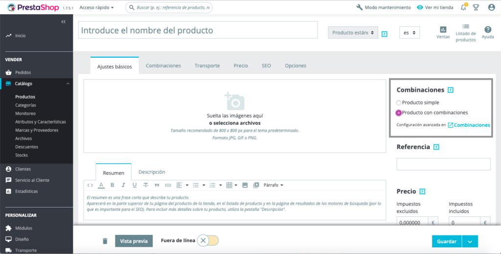 Crear productos con combinaciones en Prestashop 1.7 11