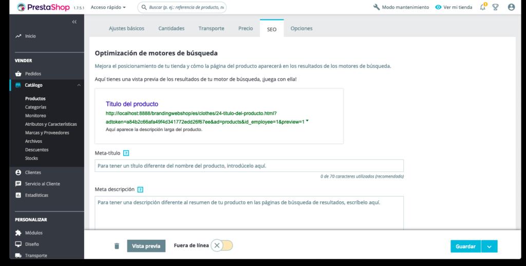 Optimización SEO de productos en Prestashop 1.7 1