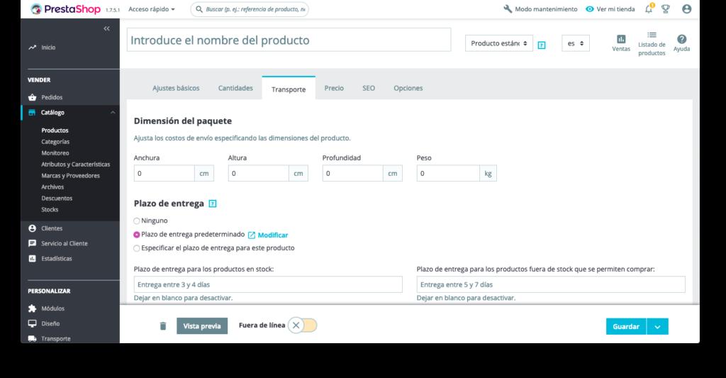 Crear productos en Prestashop 1.7 22
