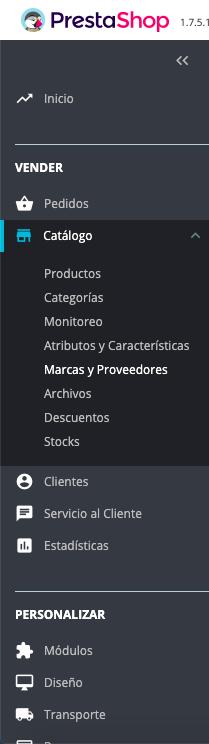 Marcas y proveedores en Prestashop 1.7 1