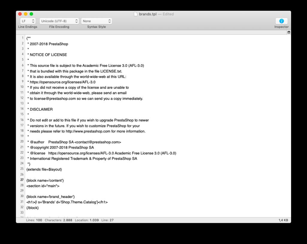 Mostrar marcas con índice alfabético en Prestashop 1.7 4