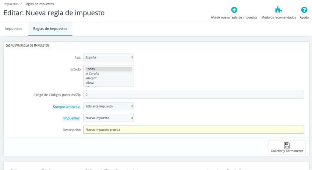 Configurar impuestos en Prestashop 1.7 10