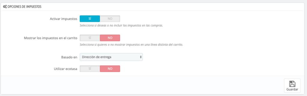 Configurar impuestos en Prestashop 1.7 4
